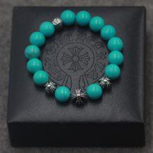 纯银925饰品打造十字珠10mm绿松石手串 泰银复古做旧款手链