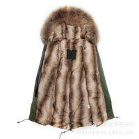 皮草外套女新款秋冬女士mr mrs furs棉衣中长款军绿色保暖派克服工厂直销