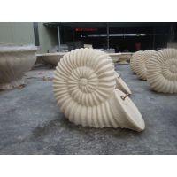 供应砂岩浮雕 砂岩海螺吐水雕塑 楼盘水池边砂岩动物小品喷泉摆件