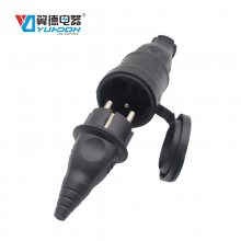 欧规法规橡胶防水公母对接插头插座组装 欧式法式德式公母对接防水插头