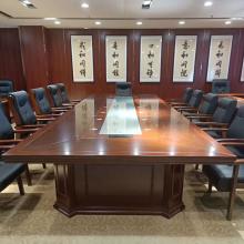 实木会议桌长桌20人大型椭圆形商务洽谈桌油漆贴皮会议台培训桌椅