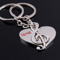 活动礼品定制钥匙圈音乐符号情侣汽车钥匙扣情人节礼物刻字印logo