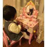 2018新款儿童仿真木制梳妆台公主化妆桌过家家女孩收纳首饰盒玩具