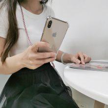 2019爆款挂绳透明手机壳 适用苹果X/XR四角防摔透明壳 手机保护套