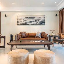 棕榈泉大平层设计,悦江国际183平米装修案例,新中式装修完工实景图