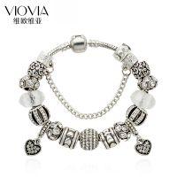 欧美热销DIY白色水晶珠串珠charm手链 永恒之心爱心吊坠手饰批发