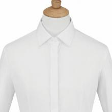 长袖女衬衣 衬衫定做 订制职业夏装 QDV-102 贵白色细斜纹天丝棉暗门襟正规领韩版休闲长袖女衬衣