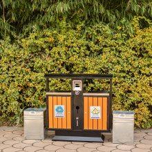 河南垃圾箱定制、郑州分类垃圾箱、园林户外钢板果皮箱厂家直销