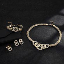 欧美流行首饰品镶钻五环项链套装耳钉手链戒指四件套厂家现货直销