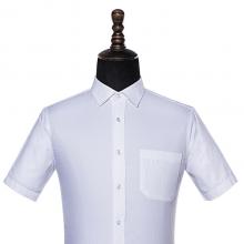 贵州男衬衣定制,短袖男衬衣,行政商务衬衫订做批发,GY5001D,白色60%棉平纹短袖男衬衣