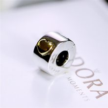 925纯银珠子固定扣卡心形爱心串珠DIY定位散珠饰品适合潘家手链