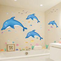 厂家直销可移除防水PVC自粘卫浴系列墙贴装饰画AY9168蓝色海豚