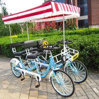 奥威特双人自行车情侣观光自行车运动车四轮多人骑一体轮自行联排车双人四人一体轮20英寸C4A