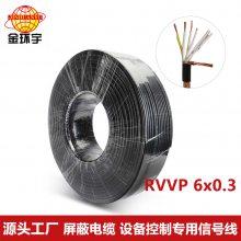 厂价热卖 金环宇电缆RVVP 6x0.3平方国标纯铜 屏蔽信号电缆线