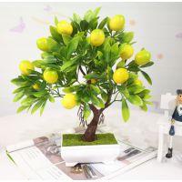 大中号绿植盆栽仿真花塑料假树水果树客厅盆景仿真石榴橘桃柠檬树