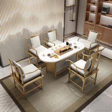 大理石茶桌椅组合简约现代茶艺桌功夫茶几办公室茶台新中式泡茶桌椅组合