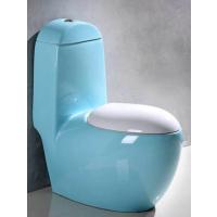 高温煅烧天蓝色陶瓷卫浴彩金一体陶瓷色釉马桶座便器