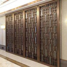 仿中式青古铜花格,订制青古铜隔断屏风