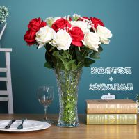 可定做透明玻璃花瓶大号富贵竹百插花培花器客厅摆件合水水晶玫瑰