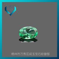 蛋形 绿色碧玺玻璃裸石 椭圆形  DIY专用宝石