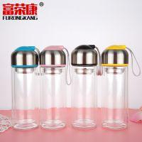 COCO创意带提绳玻璃茶水杯 情侣杯子 随手杯定制logo礼品广告杯