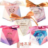 结婚礼包用装糖的小礼盒欧式喜糖盒子2018新款大理石纹糖果喜盒纸