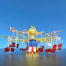 室外大型机械类游乐设备蜻蜓点水 32人豪华玻璃钢材质游乐设施供应商