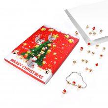 亚马逊货源圣诞节饰品日历礼盒 表情包手链耳钉套装diy礼物批发