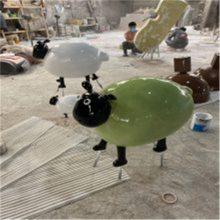 公园景观玻璃钢动物雕塑 小绵羊可爱逼真造型雕塑 联尖雕塑