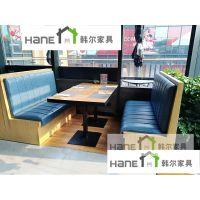 宁波餐厅实木卡座沙发定做,宁波餐厅实木家具厂家 韩尔现代品牌