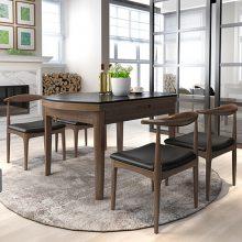 北欧全实木火烧石餐桌长方形白蜡木餐桌椅组合现代简约小户型饭桌