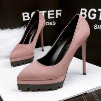 712-7韩版性感细跟绒面高跟鞋女浅口单鞋职业尖头防水台高跟鞋