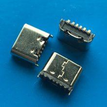 立贴TYPE-C母头6P 直立式180度贴板SMT 短体5.0/6.8mm黑胶