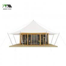 景区住宿酒店帐篷房屋 厂家设计定制豪华玻璃阳光房 营地膜结构帐篷酒店