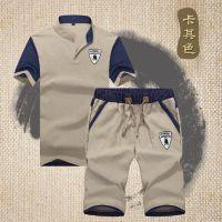 2017夏装新款 时尚拼色亚麻短袖男T恤 休闲短裤两件套装批发代理