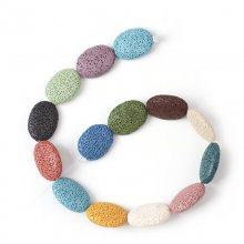 彩色火山岩DIY饰品配件 项链手链配珠成品串珠散珠 椭圆形吊坠