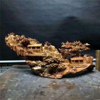 老挝花梨木整根木头无拼接立体镂空雕刻田园生活木雕工艺摆件饰品