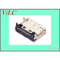 HDMI 19P母座-type c型四脚插件高清接口-有柱 镀金铜壳-威联创供应