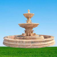 晚霞红石雕喷泉 大型喷水池雕塑 河北博古石雕