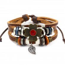 外销饰品货源 复古花朵牛皮串珠手链女款可调节多层手链首饰批发
