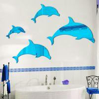 精彩墙饰3D立体亚克力立体镜面家居墙贴客厅儿童教室可爱装饰海豚