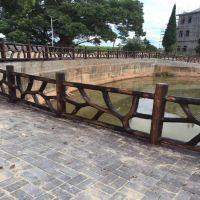 石家庄中达建材厂家低价格出售成品预制仿木护栏 水泥仿木纹景观栏杆