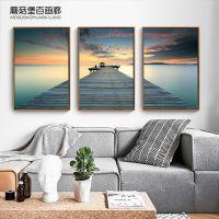 现代简约风景码头装饰画客厅三联组合挂画北欧沙发背景墙面壁画