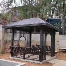 厂家直销 景观中国风中式复古户外高端钛铝合金仿木纹 四角凉亭