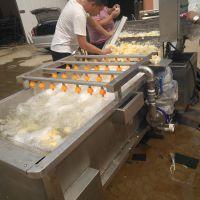 不锈钢山菜清洗机 药材鼓泡清洗线 自动出料循环用水 康汇机械