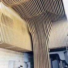 成都酒店大堂弧形铝方通吊顶-造型铝方通厂家-异型天花建材装饰--欧百得