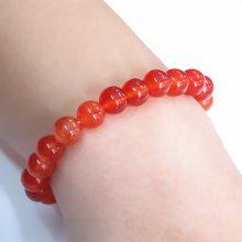 8mm手工串珠饰品手链 天然红玛瑙色泽红润均匀宝石手链 玉髓水晶
