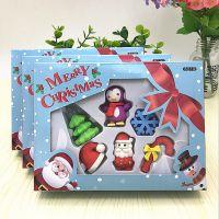 圣诞节小学生儿童文具礼品盒装立体橡皮擦 雪人卡通奖品礼物批发
