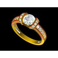 325L钛钢镶嵌黄水晶情侣戒指设计 带着 6克金戒指—粉晶首饰加工