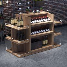 坚塔货架可拼装单面钢木红酒展示柜